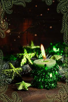 Green Christmas Candle and Ornaments
