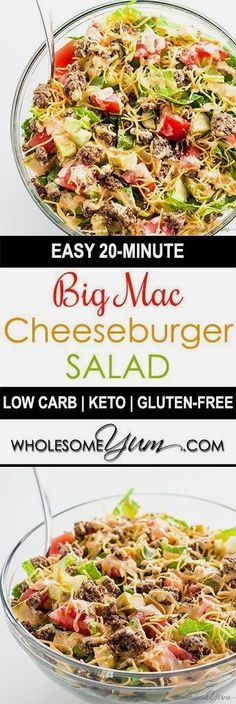 Big Mac Salad – Cheeseburger Salad (Low Carb, Gluten-free) - This easy low carb Big Mac salad recipe is ready in just 20 minutes! A gluten-free, keto cheeseburger salad like this makes a healthy lunch or dinner. http://eatdojo.com/easy-healthy-recipes-meals-breakfast-lunch-dinner/
