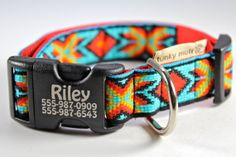 Personalized laser engraved dog collar in Faux Bead Turquoise-- Southwestern style design