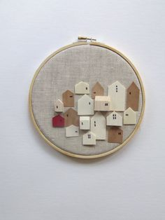 EVIDENCE tiny wooden houses on linen Hoopart  by InLittleHouses, $29.95