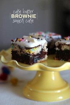 I think I might make these for my own birthday! Cake Batter Brownie Snack Cake  A fun spin on a party cake that starts with 2 box mixes!!