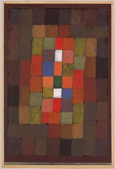 """""""Static–Dynamic Gradation"""", pintura com guache e tinta a óleo sobre papel, obra de 1923 de Paul Klee.  Veja mais em: http://semioticas1.blogspot.com.br/2013/06/arte-entre-guerras.html"""