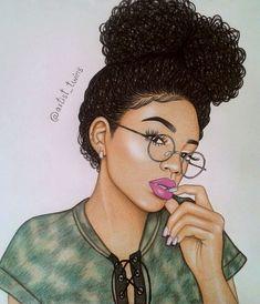 41 Best Of Dope Girl Drawings Ideas Black Love Art, Black Girl Art, Art Girl, Natural Hair Art, Natural Hair Styles, Drawings Of Black Girls, Arte Black, Black Girl Cartoon, Black Art Pictures