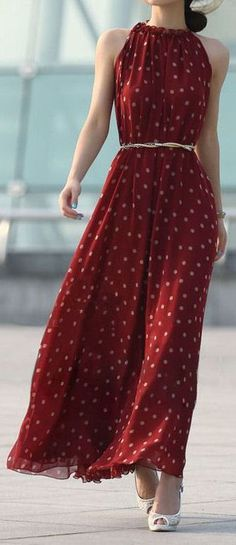 Merlot Polka Dot Maxi Dress