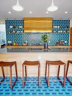 Floor and Kitchen Wall in Natural Hues 3 Color Blend Aegean (QH41), Jade (QH55) and Real Teal (QH66) by Daltile. Installation by Innovation Tile & Marble, LLC