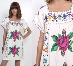 RESERVED for Heidi- 70's Mexican EMBROIDERED Cotton Boho Hippie Mini Dress S/M