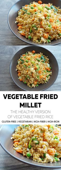 Healthy fried rice, only not really rice, but millet to get some extra nutrition. This version is vegetarian, gluten-free, quick and super tasty.