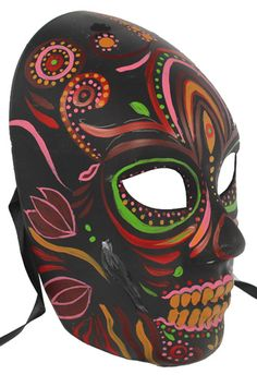 day of the dead masks paper mache how to make   Black and Green Dia De Los Muertos Mask - Day of the Dead