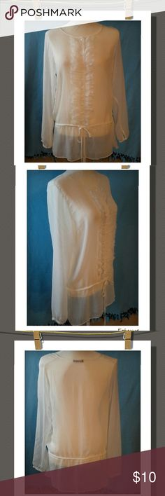 Sheer Top Cute&unique sheer button down top with a ruffled trim and a tie adjustable draw string.Light&flowy. 100% Polyester Mark Tops