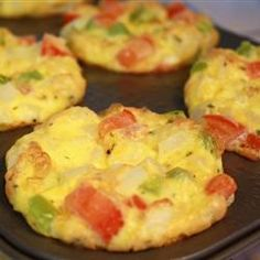 Egg bakes in a cupcake tin.....I used skim milk, asparagus, frozen chopped onion, red pepper, feta, and creole seasoning  my non stick muffin pan didn't even need to be sprayed with oil. I sauteed the veggies in water and added Mrs. Dash seasoning and salt. yummy and easy and healthier than most