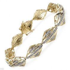 Diamonds Gold Plated Silver Unisex Bracelet 1.07 ctw