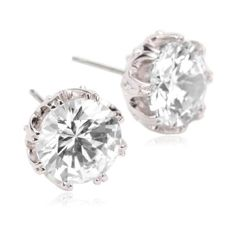"Cubic Zirconia by Kenneth Jay Lane ""Regal Styling"" Rhodium-Plated Large Round Crown Set Cubic Zirconia Stud Earrings"