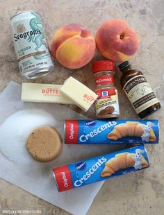 Ridiculously Easy Peach Dumplings Ingredients | ©homeiswheretheboatis.net #easy #summer #peach #recipes #desserts Summer Desserts, Easy Desserts, Dessert Recipes, Apple Dumpling Recipe, Peach Dumplings, Fruit Cobbler, Blueberry Crumble, Low Calorie Recipes, Cooking Recipes