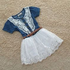 Denim Dress for Girls-6T Cowgirl Western Style Blue Dress for 2T,3T,4T,5T,6T - Dresses