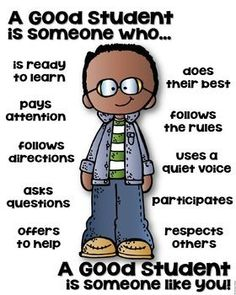 A Good Student Poster - Back to School. by Kaitlynn Albani Community Helpers Preschool, Classroom Community, Classroom Rules, Classroom Posters, Social Emotional Learning, Social Skills, Social Work, Teaching Kids, Kids Learning