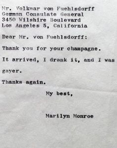 A letter from Marilyn Monroe.. champagne