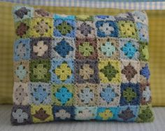 Crochet Cushion - Mini Granny Colourful, Hand Made, Made to order by CrochetObjet