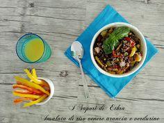 Oggi vi presento un piatto fresco e leggero che in questo periodo è l'ideale ... la mia insalata di riso venere arancia e verdurine... Voglia di estate!!!!