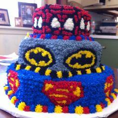 SuperHero Birthday Cake! Spiderman, Batman, & Superman.