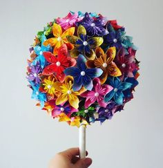 Amazing kusudama daisy table decorations fashioned in a topiary / sweet tree style. These are rainbow / multi coloured patterned paper, however, the paper colour combo is entirely your choice! Wedding Centerpieces, Wedding Bouquets, Topiary Decor, Sweet Trees, Origami Paper, Handmade Wedding, Satin Fabric, Color Combos, Paper Flowers