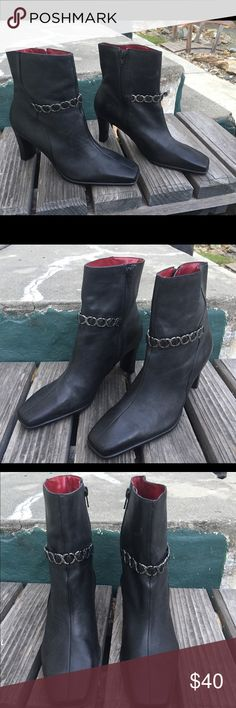 Black leather booties by Wilson, sz 10, preowned These black booties by Wilson are great! Size 10 and gently pre owned. The square toe and chain accent is so trendy! Perfect for winter.. Wilson Shoes Ankle Boots & Booties