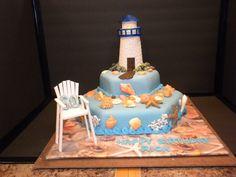 Lighthouse Beach Birthday Cake