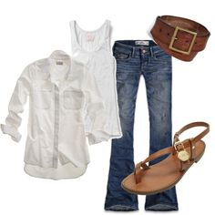 White with denim and brown leather #style #fashion