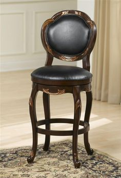 Hillsdale Furniture Alaina 30 in. Cherry Swivel Cushioned Bar Stool, Black Leather Seat In A Cherry Finish With Copper Highlights