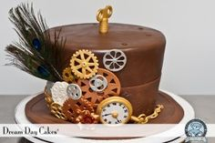 Steampunk Hat Cake, Gears, Pocket Watch ~ Dream Day Cakes®  6352 NW 18th Dr. Suite #3   Gainesville, FL 32653  1.352.336.8955