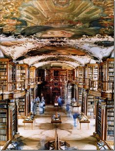 Abbey of the Library at Saint Gallin by Candida Hofer. love the movement of ghost like people