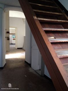 First floor: the #wood #stairway - #Villa for sale in Genoa Italy