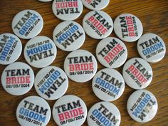 Team bride & team groom button badges. Always popular for weddings.