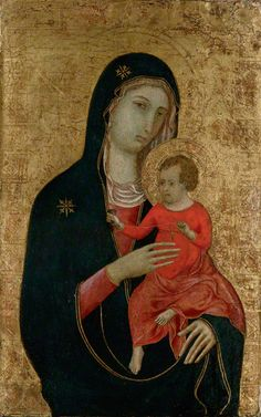 A golden Virgin and Child from Duccio di Buoninsegna's workshop.  On display at the Getty Museum.