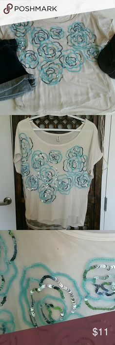 Free People Sequin Tee Cute Free People top. Perfect for summer. Pre loved, but still has some miles! There is a little hole in the cotton under shirt shown in the third picture and an imperfect too with the sequins in the fourth picture. Non smoking home. Tops Tees - Short Sleeve