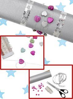 Hier finden Sie eine kreative Verpackungsmöglichkeit mit funkelnden Verzierungen für längliche Gegenstände.
