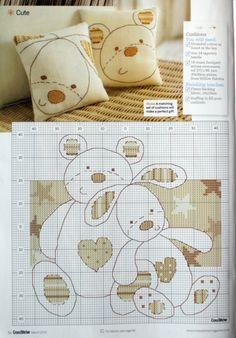 free cross stitch pattern - Teddies by olivialight Cross Stitch Pillow, Cross Stitch Baby, Cross Stitch Animals, Cross Stitch Charts, Cross Stitch Designs, Cross Stitch Patterns, Cross Stitching, Cross Stitch Embroidery, Embroidery Patterns