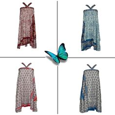 Bohemian Wrap Around Silk Sari Skirts by india-trendzs on Polyvore featuring…