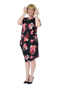 Rochie neagra cu imprimeu ciclam cu gri R006S-N -  Ama Fashion Cold Shoulder Dress, Floral, Dresses, Fashion, Vestidos, Moda, Fashion Styles, Flowers, Dress