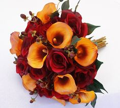 Deep Red Roses and Specialty Orange Calla Lilies Bouquet