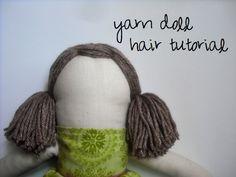 Yarn Doll Hair Tutorial by Becca Marie DesignsCrochet Amigurumi Hair - Tutorial ❥ // hfCreating Curls in Yarn for DIY Doll Hair Yarn Dolls, Sock Dolls, Felt Dolls, Fabric Dolls, Crochet Dolls, Crochet Hair, Plushie Patterns, Doll Patterns, Sewing Dolls