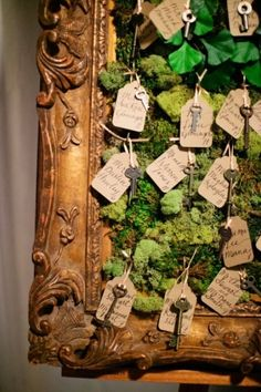.Moss with gilded frame - woodland meets vintage glamour