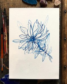 'Blue Wash Flower' original ink drawing on thick watercolour paper now available online link in bio.
