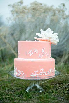 Coral wedding cake   Romantic Bridal Inspiration   Glamour & Grace
