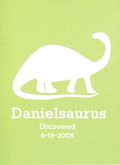 "Boy's Room Dinosaur Wall Name Decor Art Nursery 8x10"". $14.00, via Etsy."
