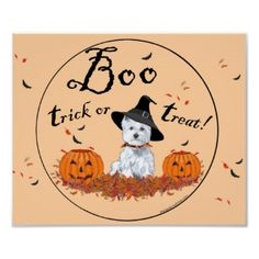 West Highland White Terrier Halloween Posters