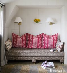 Revving up a nook with pattern, Ireland upholstered the daybed in her Greta linen in Chester and covered large pillows in her Tangier 1 linen in Cherry Red/Natural. Click through for more pictures of Jackie Kennedy's beach house.
