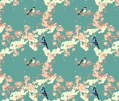 Birds and Blossoms in Aqua fabric by zoecharlotte on Spoonflower - custom fabric