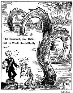 One of Dr. Seuss's World War II political propaganda cartoons. Published by PM Magazine on June 2, 1941, Dr. Seuss Collection, MSS 230. Mandeville Special Collections Library, UC San Diego. Via Brain Pickings.