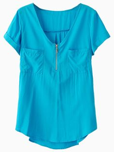 Blue Relaxed Shirt with Chest Pockets | Choies