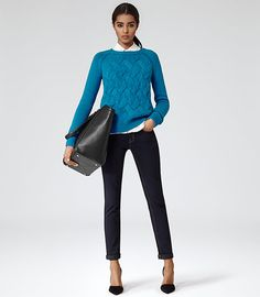 Theola Chunky Cable Knit Jumper in Turkish Blue